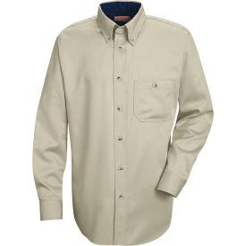 Red Kap® Men's Cotton Long Sleeve Contrast Dress Shirt Stone/Navy XXL367 - SC74