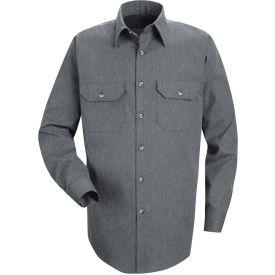 Red Kap® Men's Heathered Poplin Uniform Shirt Long Sleeve Navy Regular-3XL SH10-SH10NVRG3XL