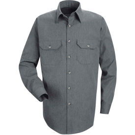 Red Kap® Men's Heathered Poplin Uniform Shirt Long Sleeve Navy Regular-M SH10-SH10NVRGM
