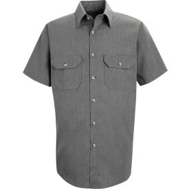 Red Kap® Men's Heathered Poplin Uniform Shirt Short Sleeve Charcoal S SH20-SH20CHSSS