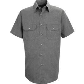 Red Kap® Men's Heathered Poplin Uniform Shirt Short Sleeve Charcoal 2XL SH20-SH20CHSSXXL
