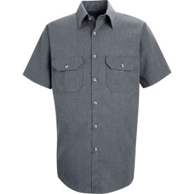 Red Kap® Men's Heathered Poplin Uniform Shirt Short Sleeve Navy 3XL SH20-SH20NVSS3XL