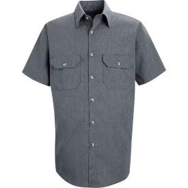 Red Kap® Men's Heathered Poplin Uniform Shirt Short Sleeve Navy XL SH20-SH20NVSSXL