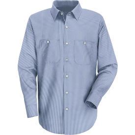 Red Kap® Men's Industrial Stripe Work Shirt Long Sleeve Blue/White Stripe Extra Long-2XL SL10
