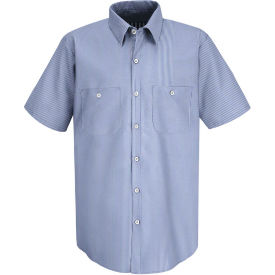 Red Kap® Men's Industrial Stripe Work Shirt Short Sleeve Blue/White Stripe Long-3XL SL20