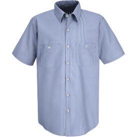 Red Kap® Men's Industrial Stripe Work Shirt Short Sleeve Blue/White Stripe Long-M SL20