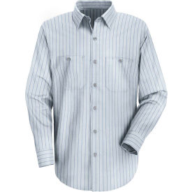 Red Kap® Men's Industrial Stripe Work Shirt Long Sleeve Light Blue/Navy Stripe Regular-M SP10