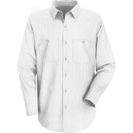 Red Kap® Men's Industrial Stripe Work Shirt Long Sleeve White/Charcoal Stripe Extra L-XL SP10