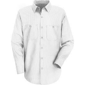 Red Kap® Men's Industrial Stripe Work Shirt Long Sleeve White/Charcoal Stripe Extra L-XL SP10