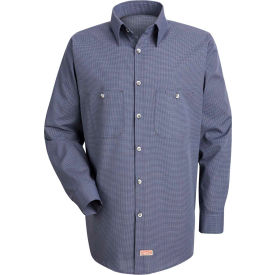 Red Kap® Men's Micro-Check Uniform Shirt Long Sleeve Blue/Charcoal Check Long-XL SP10