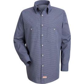 Red Kap® Men's Micro-Check Uniform Shirt Long Sleeve Blue/Charcoal Check Extra Long-2XL SP10