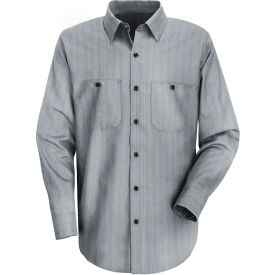 Red Kap® Men's Industrial Stripe Work Shirt Long Sleeve Charcoal Blue/White Stripe Reg-L SP10
