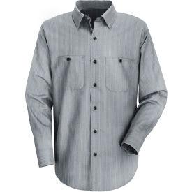 Red Kap® Men's Industrial Stripe Work Shirt Long Sleeve Charcoal Blue/White Stripe Reg-S SP10