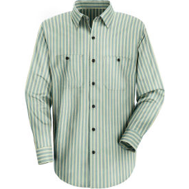 Red Kap® Men's Industrial Stripe Work Shirt Long Sleeve Green/Khaki Stripe Long-3XL SP10
