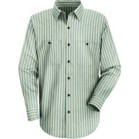 Red Kap® Men's Industrial Stripe Work Shirt Long Sleeve Green/Khaki Stripe Regular-XL SP10