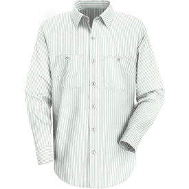 Red Kap® Men's Industrial Stripe Work Shirt Long Sleeve White/Green Stripe Long-L SP10