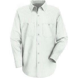 Red Kap® Men's Industrial Stripe Work Shirt Long Sleeve White/Green Stripe Long-XL SP10