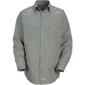 Red Kap® Men's Micro-Check Uniform Shirt Long Sleeve Hunter/Khaki  Check Regular-S SP10