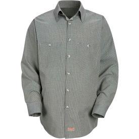 Red Kap® Men's Micro-Check Uniform Shirt Long Sleeve Hunter/Khaki  Check Regular-2XL SP10