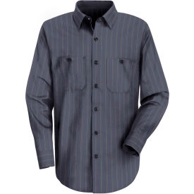 Red Kap® Men's Industrial Stripe Work Shirt Long Sleeve Blue with Brown/White Stripe L-XL SP10