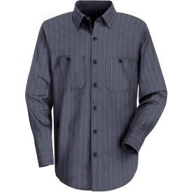 Red Kap® Men's Industrial Stripe Work Shirt Long Sleeve Blue Brown/White Stripe Regular-S SP10