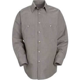 Red Kap® Men's Micro-Check Uniform Shirt Long Sleeve Khaki/Black Check Regular-S SP10
