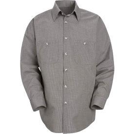 Red Kap® Men's Micro-Check Uniform Shirt Long Sleeve Khaki/Black Check Regular-S SP10