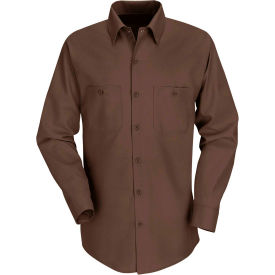 Red Kap® Men's Industrial Work Shirt Long Sleeve Chocolate Brown Long-XL SP14