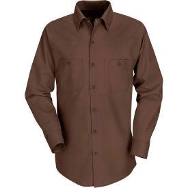 Red Kap® Men's Industrial Work Shirt Long Sleeve Chocolate Brown Regular-3XL SP14
