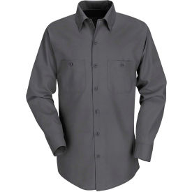 Red Kap® Men's Industrial Work Shirt Long Sleeve Charcoal Long-2XL SP14