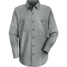 Red Kap® Men's Industrial Stripe Work Shirt Long Sleeve Charcoal/Red/White Stripe Long-XL SP14