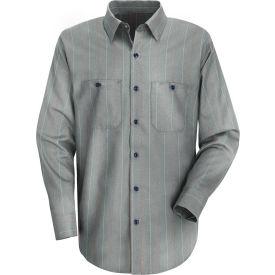 Red Kap® Men's Industrial Stripe Work Shirt Long Sleeve Charcoal/Red/White Stripe Reg-S SP14