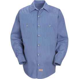 Red Kap® Men's Geometric Micro-Check Work Shirt Denim Blue Microcheck Long-L SP14 -SP14DNLNL