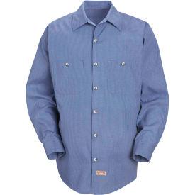 Red Kap® Men's Geometric Micro-Check Work Shirt Denim Blue Microcheck Long-L SP14 -SP14DNLNL