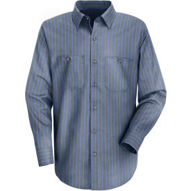 Red Kap® Men's Industrial Stripe Work Shirt Long Sleeve Gray/Blue Stripe Extra Long-L SP14