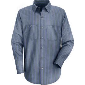 Red Kap® Men's Industrial Stripe Work Shirt Long Sleeve Gray/Blue Stripe Extra Long-XL SP14