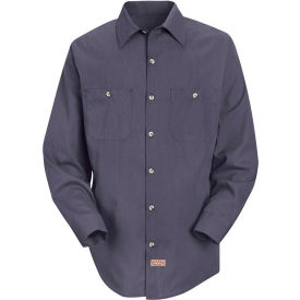 Red Kap® Men's Geometric Micro-Check Work Shirt Blue/Charcoal Microcheck Long-L SP14 -SP14GBLNL