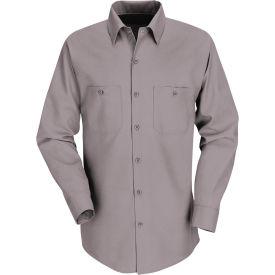 Red Kap® Men's Industrial Work Shirt Long Sleeve Gray Long-XL SP14