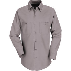 Red Kap® Men's Industrial Work Shirt Long Sleeve Gray Regular-S SP14