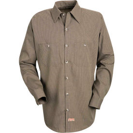 Red Kap® Men's Geometric Micro-Check Work Shirt Khaki/Black Microcheck Long-L SP14 -SP14KBLNL