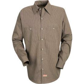 Red Kap® Men's Geometric Micro-Check Work Shirt Khaki/Black Microcheck Long-XL SP14 -SP14KBLNXL