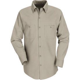 Red Kap® Men's Industrial Work Shirt Long Sleeve Khaki Regular-3XL SP14