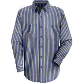 Red Kap® Men's Industrial Stripe Work Shirt Long Sleeve Navy/Khaki Stripe Long-3XL SP14