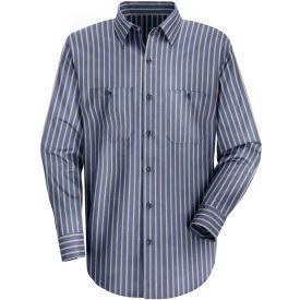 Red Kap® Men's Industrial Stripe Work Shirt Long Sleeve Navy/Khaki Stripe Long-XL SP14