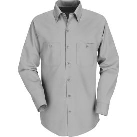 Red Kap® Men's Industrial Work Shirt Long Sleeve Light Gray Extra Long-2XL SP14