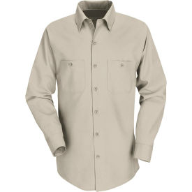Red Kap® Men's Industrial Work Shirt Long Sleeve Light Tan Regular-M SP14
