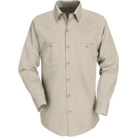Red Kap® Men's Industrial Work Shirt Long Sleeve Light Tan Regular-2XL SP14
