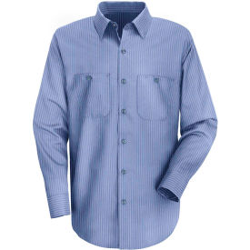 Red Kap® Men's Durastripe Work Shirt Medium Blue/Light Blue Twin Stripe Long-XL SP14-SP14MLLNXL