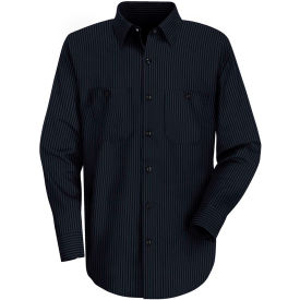 Red Kap® Men's Durastripe Work Shirt Navy/Light Blue Twin Stripe Long-XL SP14-SP14NLLNXL