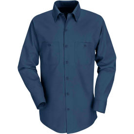 Red Kap® Men's Industrial Work Shirt Long Sleeve Navy Extra Long-2XL SP14